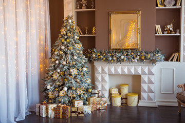 Christmas background. Luxury interior room with fireplace decorated in xmas style. No people. New year tree and gifts