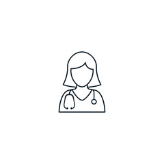 Doctor nurse icon outline, Vector isolated line illustration