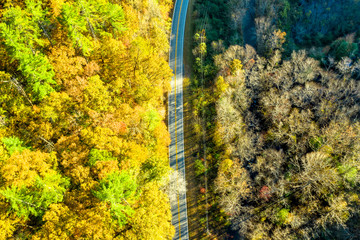 Aerial view of mountain road during the fall