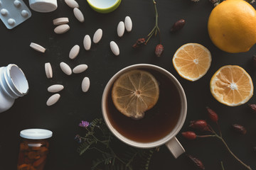 Herbal vs conventional medicine concept