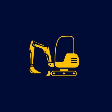 Excavator mini icon. Digger Illustration vector dig vehicle. Mini excavator logo
