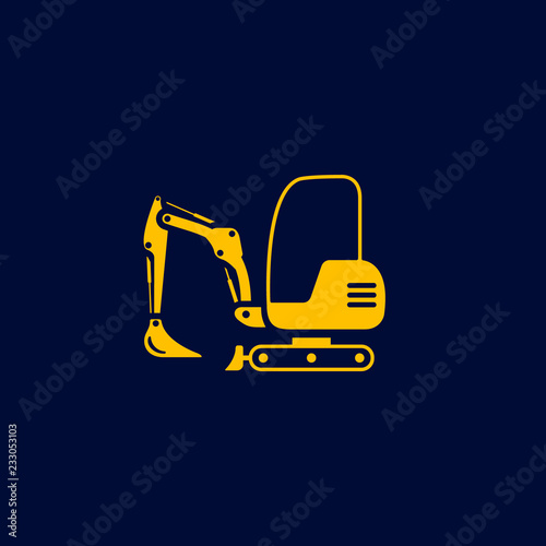 Excavator mini icon  Digger Illustration vector dig vehicle