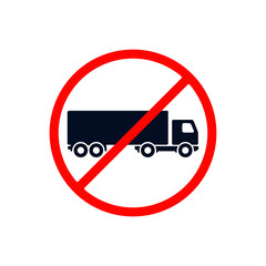No truck sign, prohibit sign vector illustration