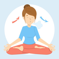 Breath exercise for good relaxation. Breathe in and out