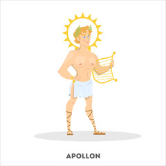 Apollon ancient greek god character. Greece history