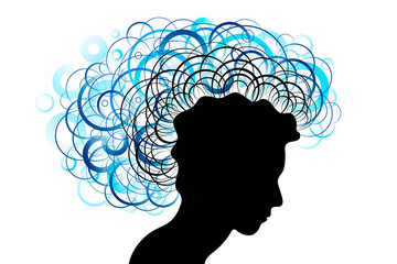 Head silhouette profile and hairs with blue circles