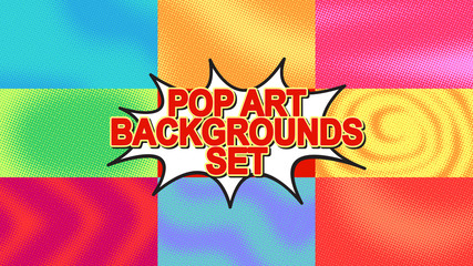 Pop art background set with halftone dots, vector retro comics style dotted backgrounds templates design HD