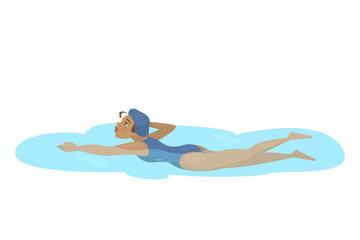 Young girl swim in the school pool