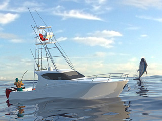 Big game fishing fighint with extreme big catcg tuna fish, fish and sport fishing boat together 3d render