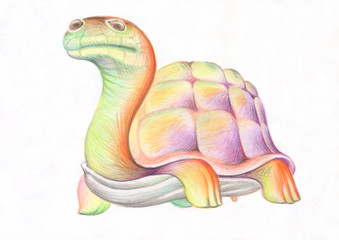 Pencil drawing. Illustration for children. Image of animals with colored pencils. A big, old, fat turtle, walking slowly along the road.