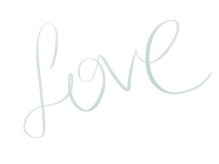 Love illustration. Handwritten Love text sign on white background isolated. Wedding greeting card. Happy valentines day.