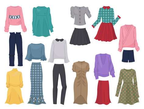 Set of women's clothes, for autumn and winter, casual and business clothing, isolated on white background