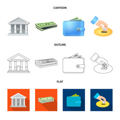 Isolated object of bank and money symbol. Collection of bank and bill stock vector illustration.