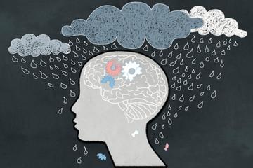 Depression Concept with Human, Broken Brain and Heavy Rain