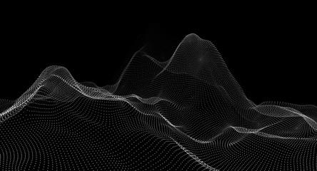 lattice frame of a mountain range on a black background. 3d illustration
