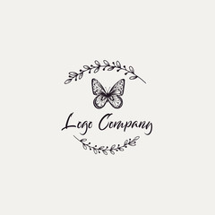 Butterfly logo template. Vector illustration.