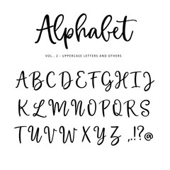 Hand drawn vector alphabet, font. Isolated letters, punctuation written with marker or ink. Modern brush script.