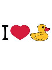 liebe i love herz quietscheente gummiente badeente ente gans vogel baby kind klein süß niedlich comic cartoon clipart design