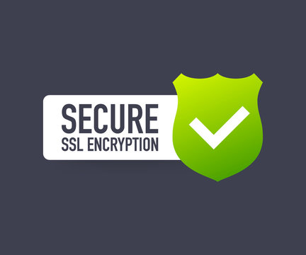 Secure connection icon vector illustration isolated on white background, flat style secured ssl shield symbols. Vector illustration.