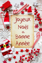 Bright Christmas Flat Lay, Bonne Annee Means Happy New Year