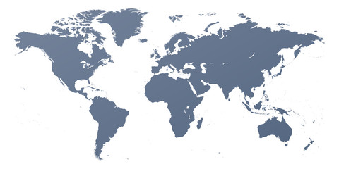 Detailed world map outline contour silhouette