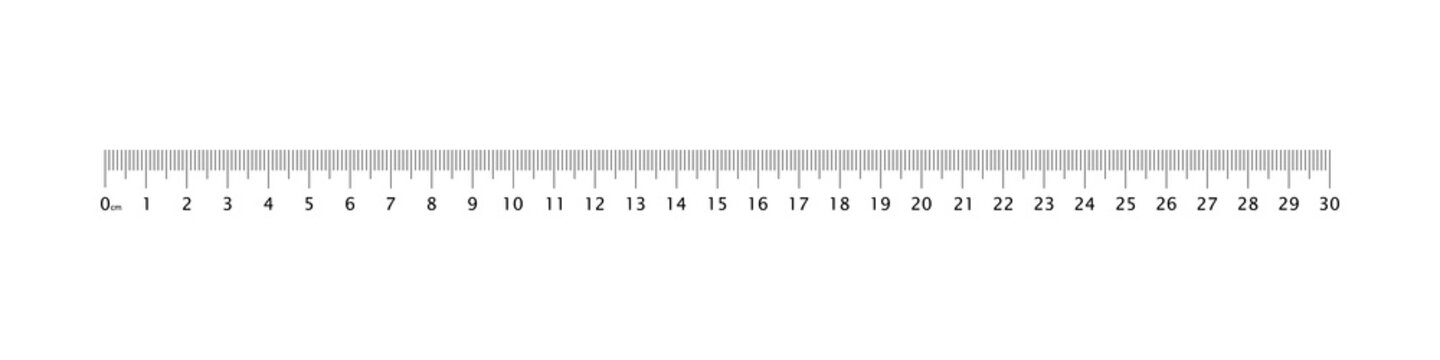 Ruler 30 cm grid template. Measuring tool graduation. Metric Centimeter size indicators.