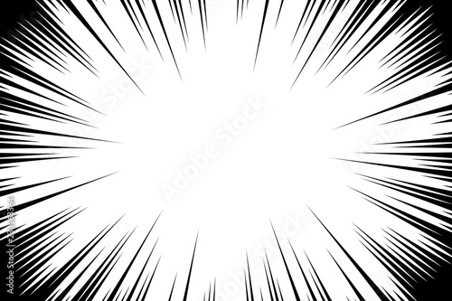 Comic book radial lines background. Manga speed frame. Explosion ...