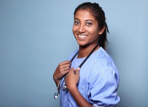 Mixed race healthcare woman