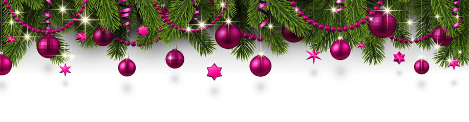 Christmas and New Year banner with fir branches and pink Christmas balls.