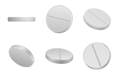 White classic pills from different angles. Realistic round tablets set. Vector Illustration.