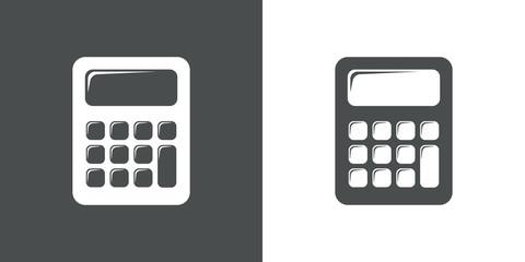 Icono plano calculadora en gris y blanco