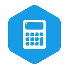 Icono plano calculadora en hexágono azul