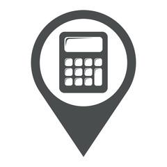 Icono plano localizacion calculadora gris
