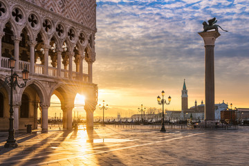 Poster Venice Sunrise at the San Marco square in Venice, Italy
