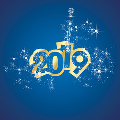 Vector 2019 Happy New Year champagne firework gold blue background