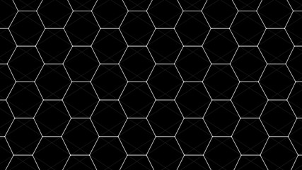 Abstract black futuristic background. Background with hexagons. Connecting dots and lines on white background. 4k rendering.
