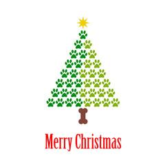 Logotipo con texto Merry Christmas con árbol de navidad abstracto con pisadas de gato en dos tonos de verde
