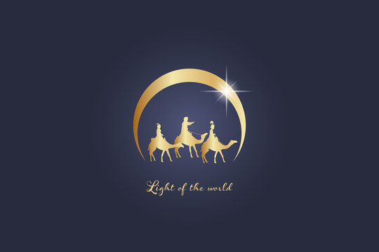 Christmas time. The three kings follow the star to Bethlehem. Text : Light of the world