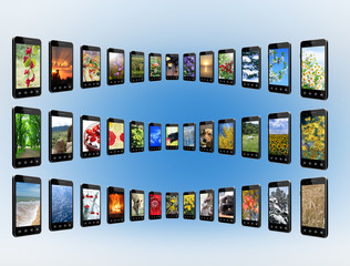 Smartphones with different photo in rows. Digital technologies