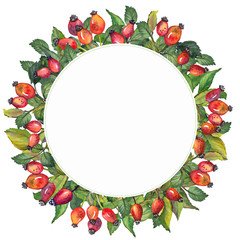 Watercolor circle frame with red rosehips berries and green leaves. Hand drawn illustration on white background.