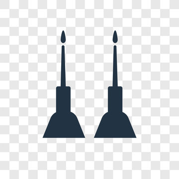 Jewish Candles vector icon isolated on transparent background, Jewish Candles transparency logo design