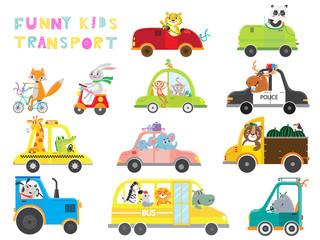 Set of kids transport with animal on white background . Collection funny cars. Vector illustration