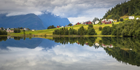 Wall Mural - Panorama landscape of Nordic village in Norwegian fjord