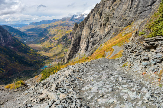 High Mountain Road - An autumn day on a dangerous section of Black Bear Pass Trail, above the town of Telluride, Colorado, USA.