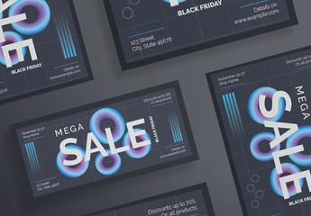Black Friday Dark Flyer Layout with Gradient Elements
