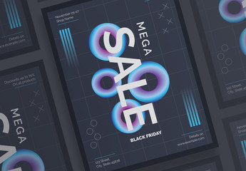 Black Friday Dark Poster Layout with Gradient Elements