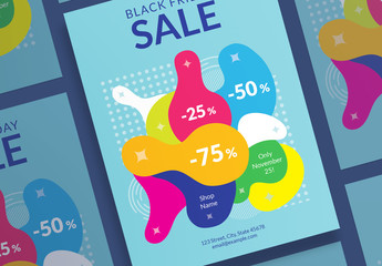 Black Friday Sale Poster Layout with Color Elements