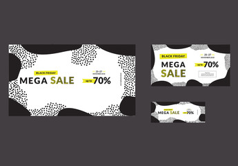 Black Friday Sale Social Media Cover and Post Layout with Yellow Accents