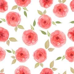 Watercolor seamless pattern. Vintage Pink roses.