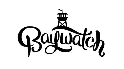 Baywatch logo design. Lettering poster. Vector illustration.